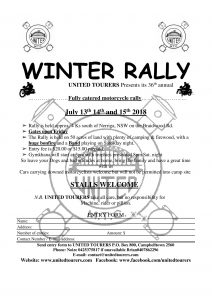 36th Winter Rally @ United Tourers Motorcycle Touring Club | Corang | New South Wales | Australia